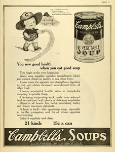 1920 Ad Campbells Canned Vegetable Soup Souper Kid Farmer Poem Poetry TMP2