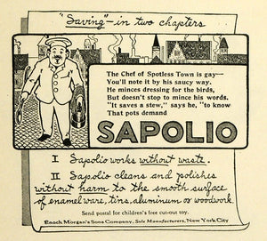 1914 Ad Sapolio Soap Chef Enoch Morgan's Sons Co Cleaning Products TMP2