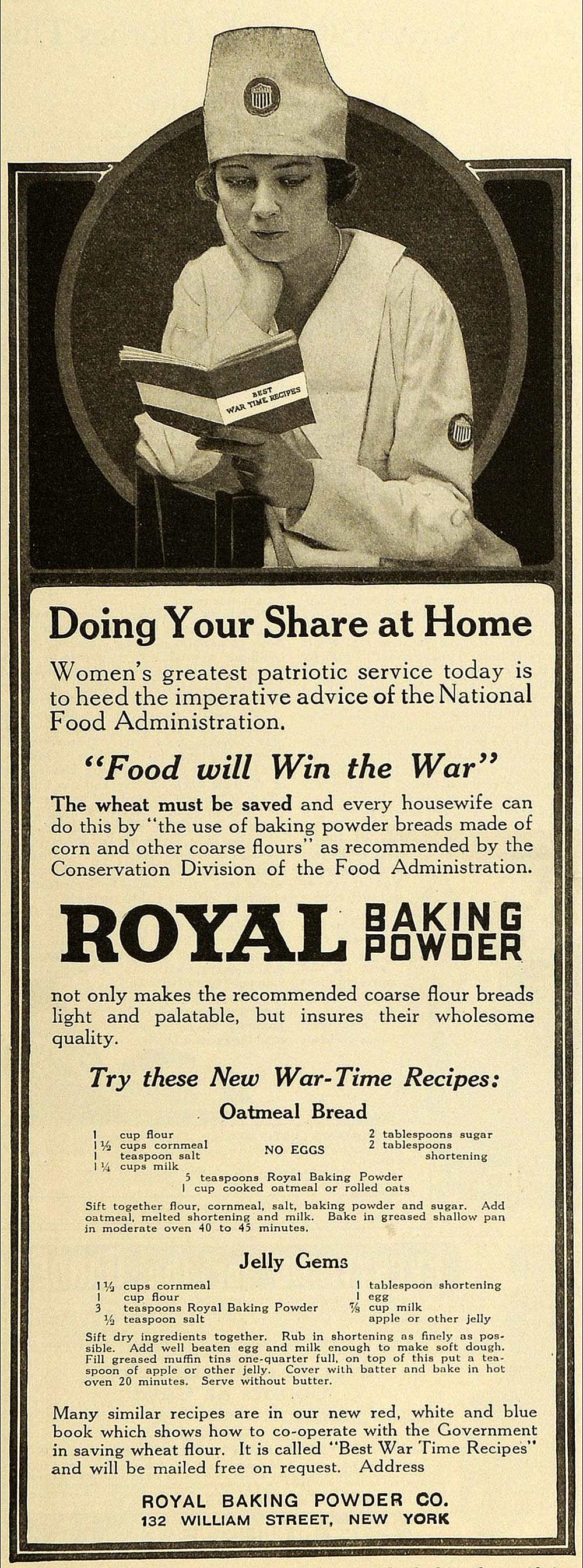 1918 Ad Royal Baking Powder Co War Time Recipes Oatmeal Bread Jelly Gems TMP2
