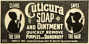 1918 Ad Cuticura Soap Ointment Remedy Medication Pimples Dandruff Hair TMP2 - Period Paper
