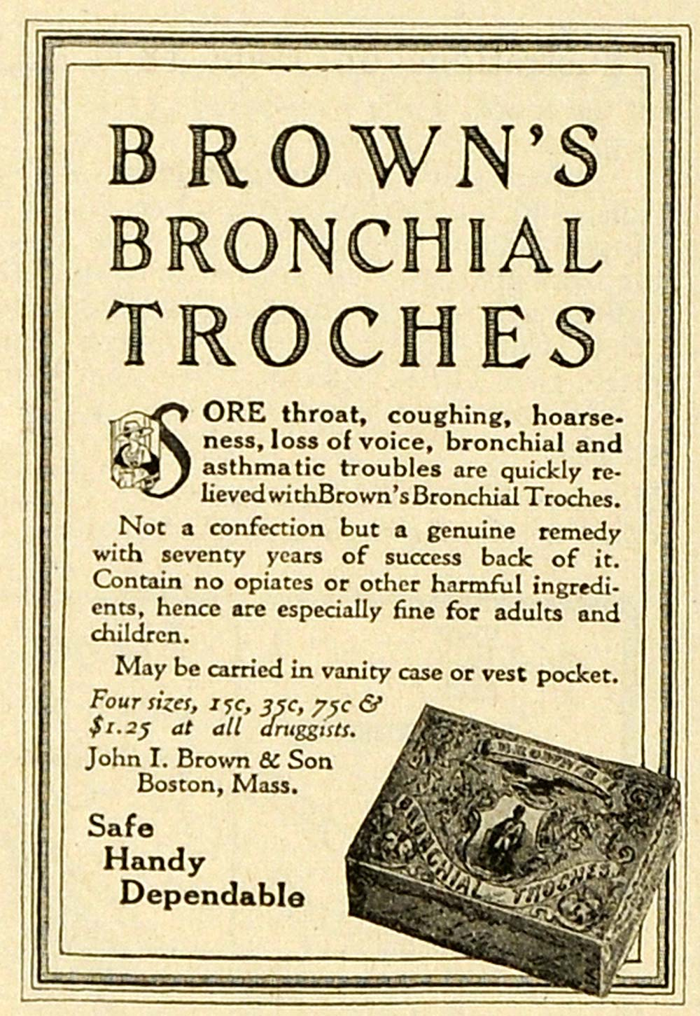 1919 Ad Brown's Bronchial Troches Sore Throat Remedy Medication Vintage TMP2