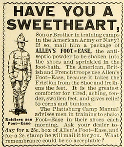1918 Ad Plattsburg Camp Manual Training Soldiers Allen's Foot Ease Talcum TMP2