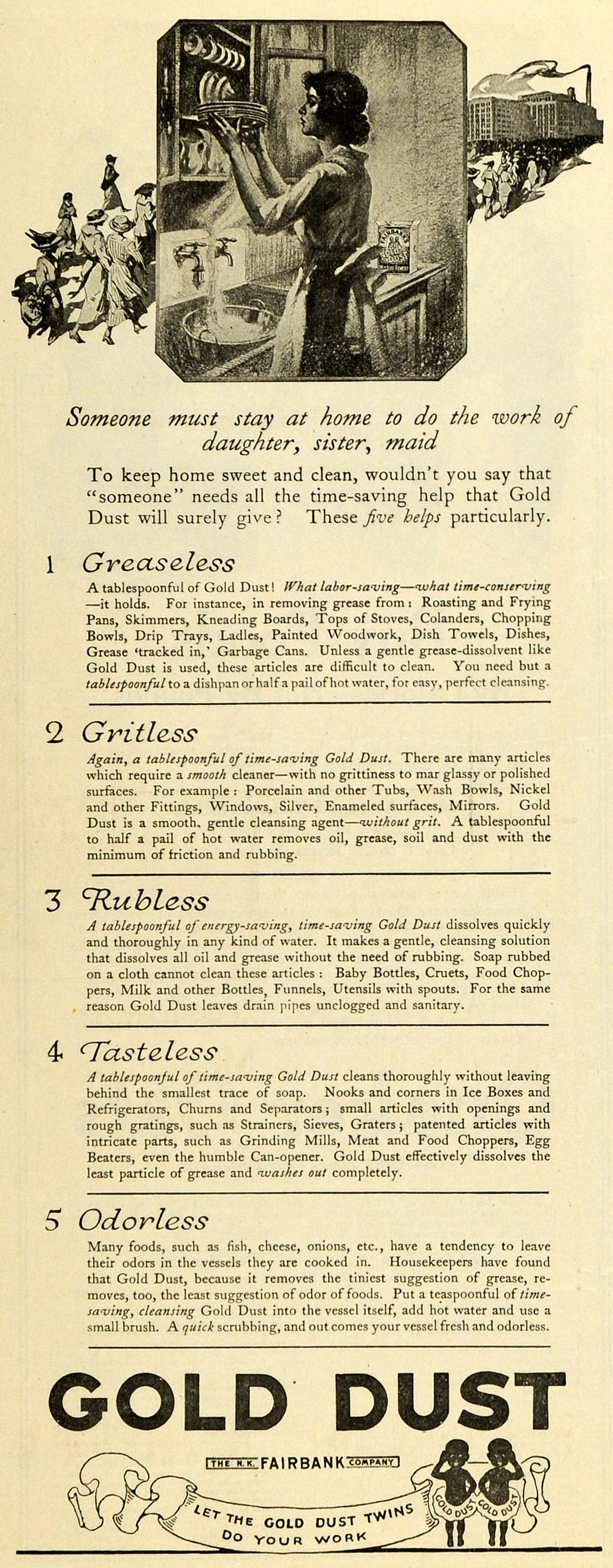 1918 Ad Housekeeping Household Gold Dust Soap Fairbank Housewife Detergent TMP2