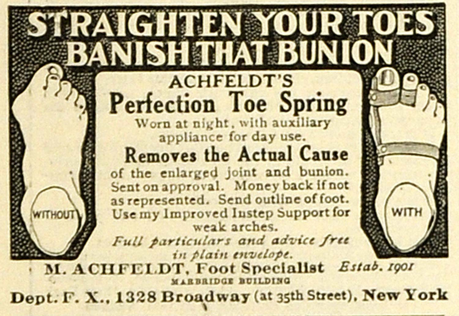 1918 Ad M. Achfeldt Foot Specialist Broadway NYC Perfection Toe Spring TMP2