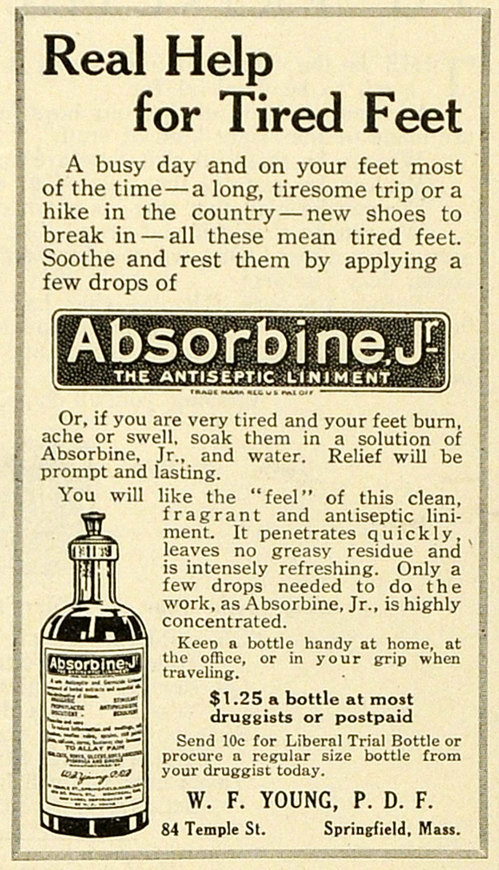 1918 Ad W F YoungSpringfield Absorbine Jr Antiseptic Liniment Bottle Remedy TMP2