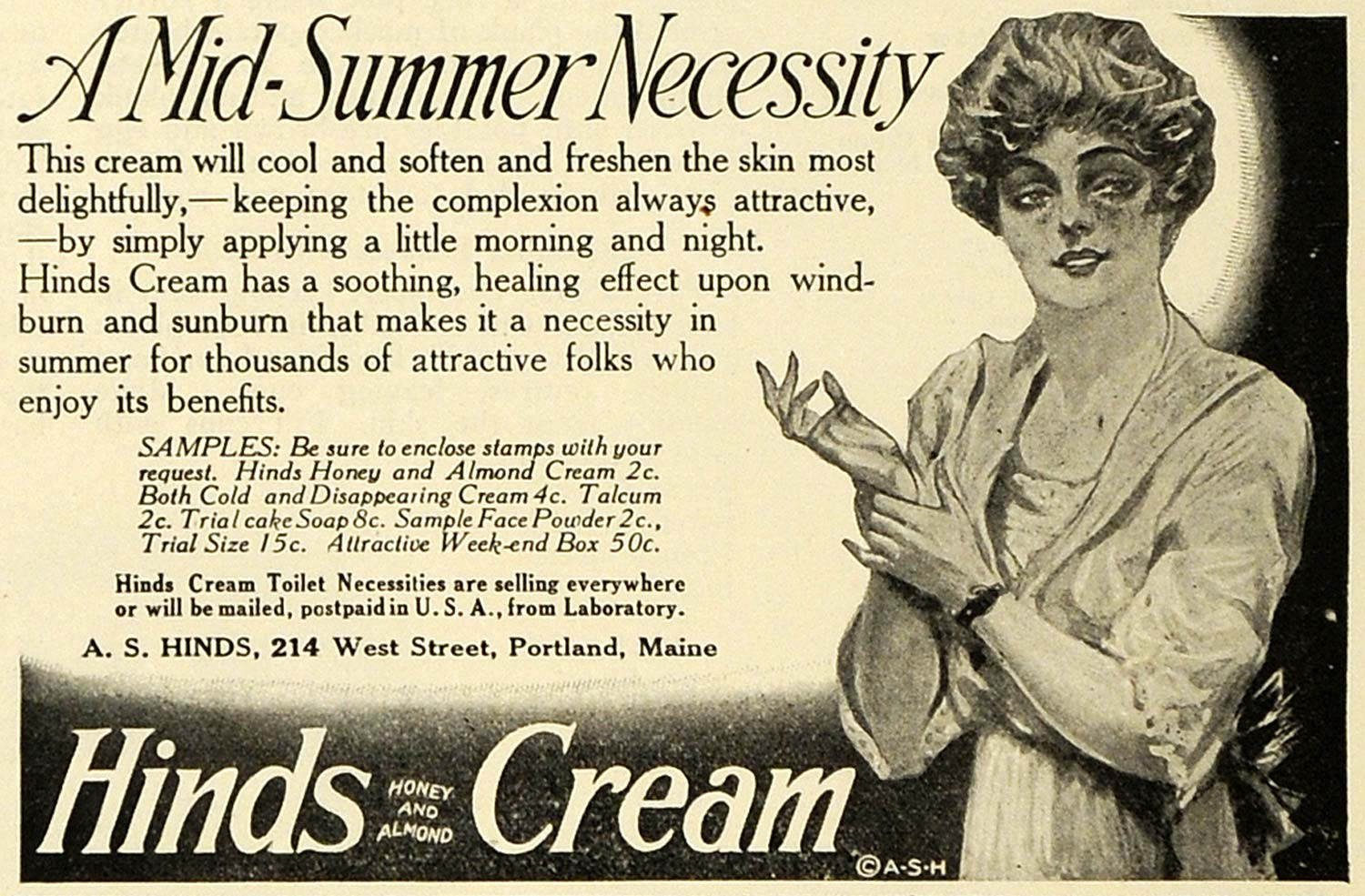 1919 Ad A S Hinds Honey Almond Cream Lotion Beauty Products Cosmetics Skin TMP2