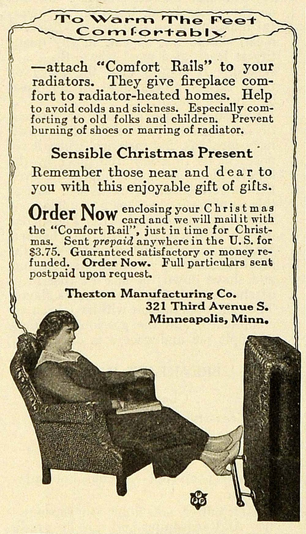 1919 Ad Christmas Gift Thexton Radiator Furnace Heat Comfort Rails Foot TMP2