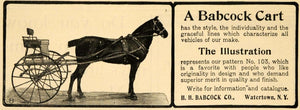 1901 Ad H H Babcock Horse Cart Carriage Buggy No 103 - ORIGINAL ADVERTISING TOM1