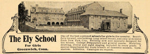 1909 Ad Ely School for Girls County Council Greenwich - ORIGINAL TOM1