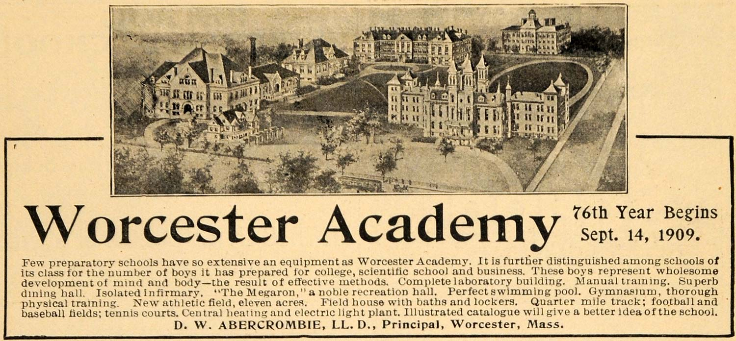 1909 Ad 76th Year Worcester Academy Campus Picture Boys - ORIGINAL TOM1