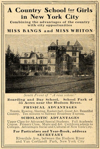 1909 Ad Miss Bangs & Miss Whiton Boarding Day School - ORIGINAL ADVERTISING TOM1