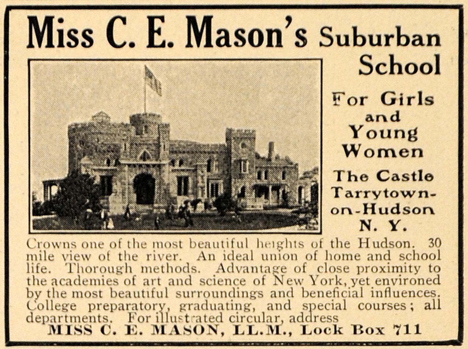1909 Ad Castle Miss C E Mason Suburban School Girls - ORIGINAL ADVERTISING TOM1
