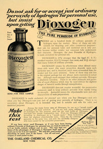 1909 Ad Dioxogen Peroxide Hydrogen Oakland Chemical Co. - ORIGINAL TOM1