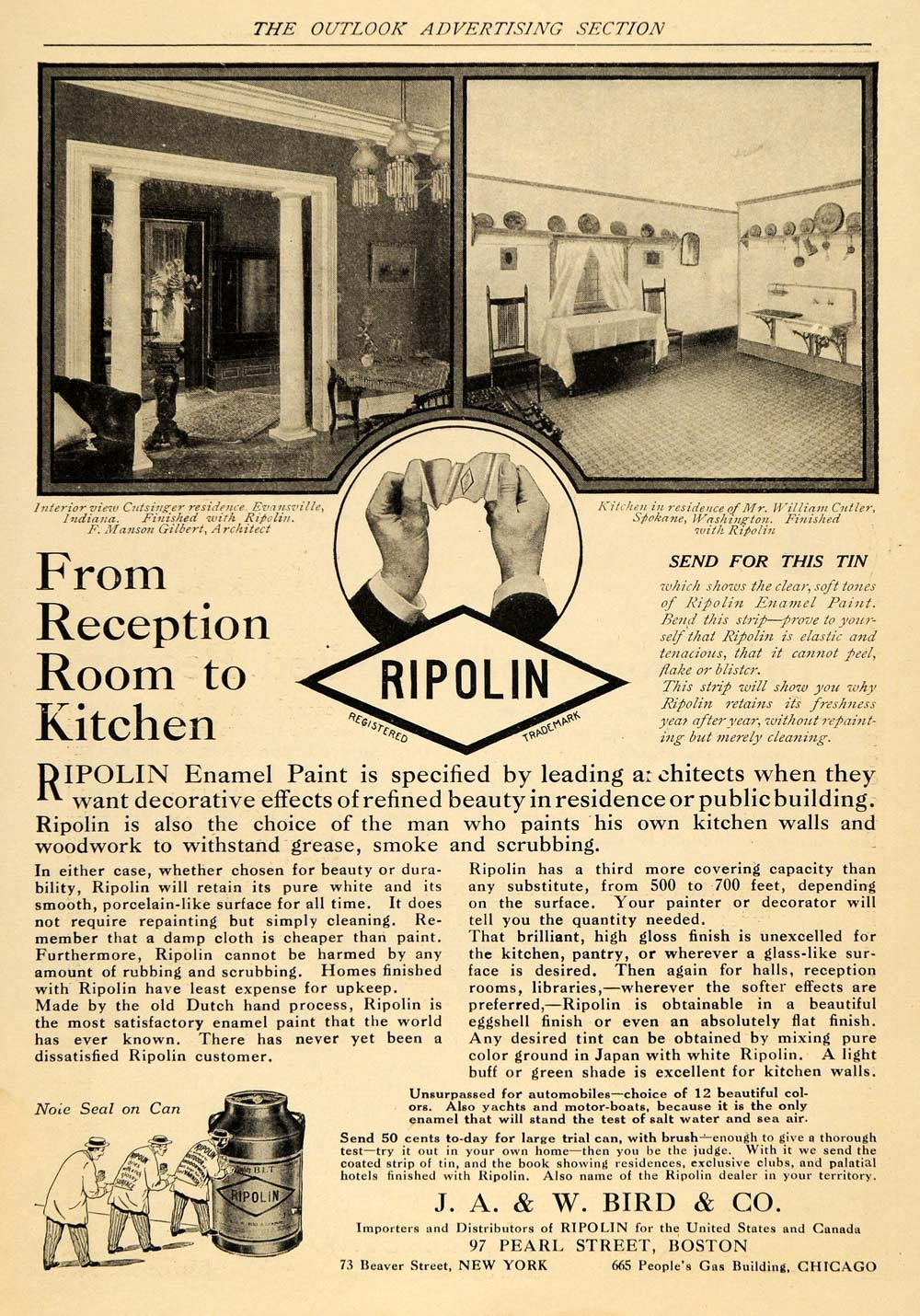1915 Ad Ripolin Manson Gilbert Architect Enamel Paint - ORIGINAL TOM1