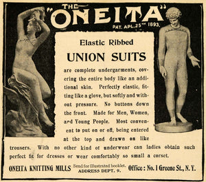 1898 Ad Union Suit Elastic Ribbed Oneita Knitting Mills - ORIGINAL TOM1
