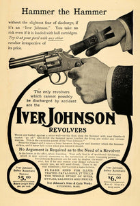 1904 Ad Iver Johnson Revolvers Hammer Safety Automatic - ORIGINAL TOM1