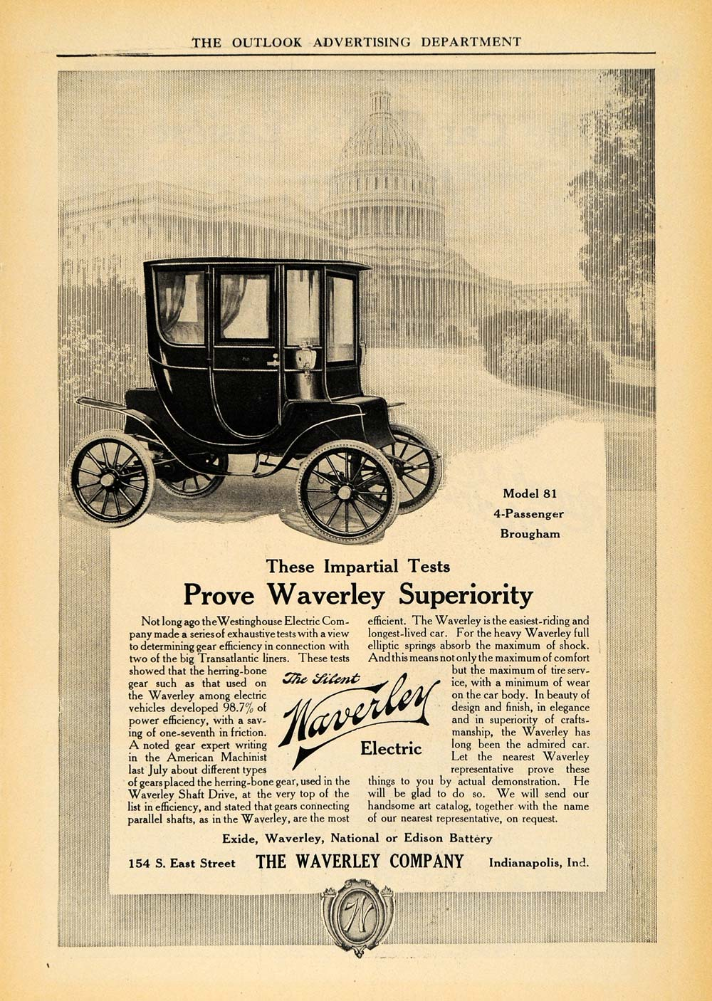 1910 Ad Waverly Electric Model 81 Brougham White House - ORIGINAL TOM1