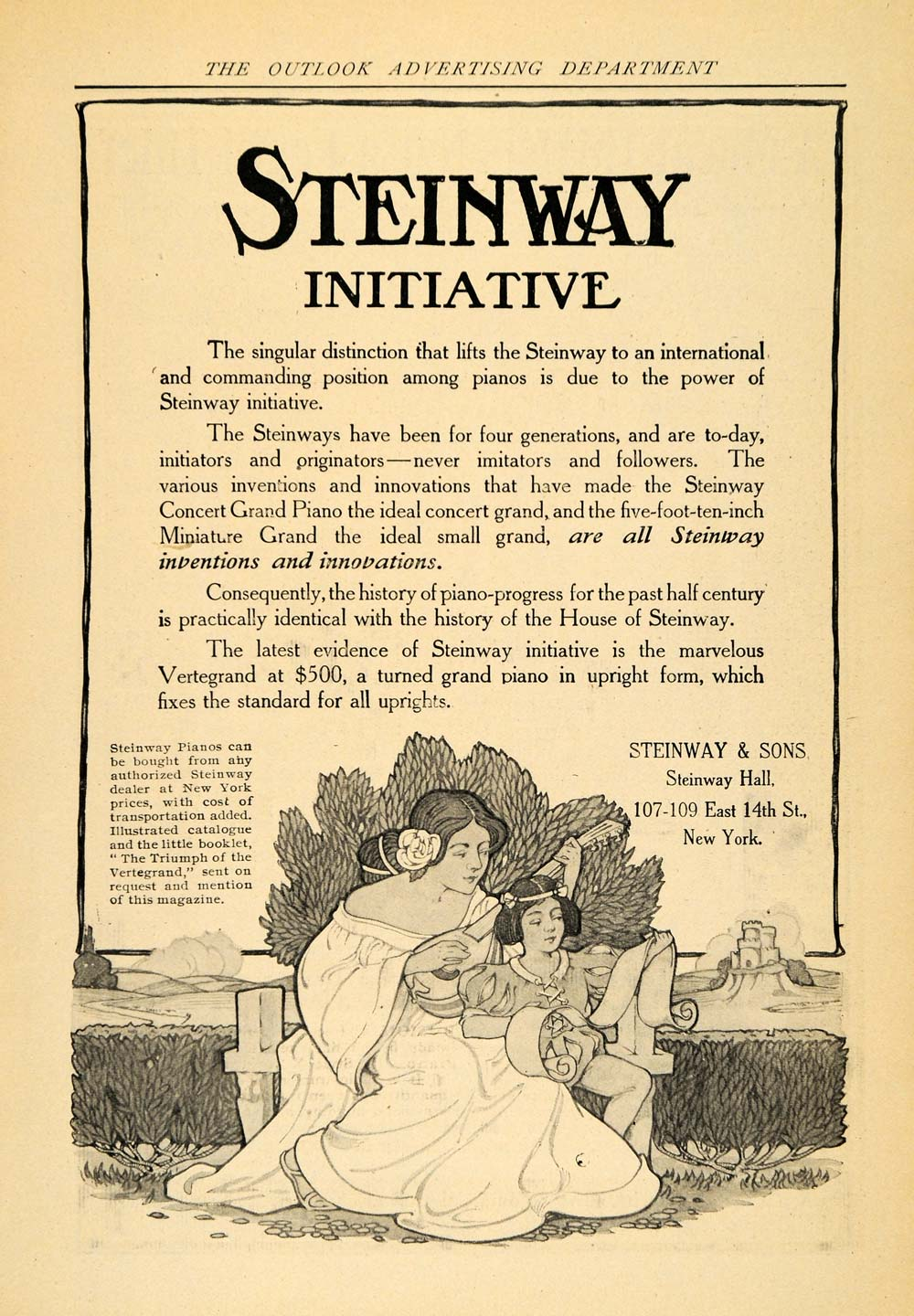 1907 Ad Steinway Pianos Vertegrand Art Nouveau - ORIGINAL ADVERTISING TOM1