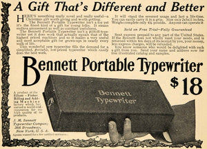 1910 Ad J M Bennett Portable Typewriter Co. Christmas - ORIGINAL TOM1