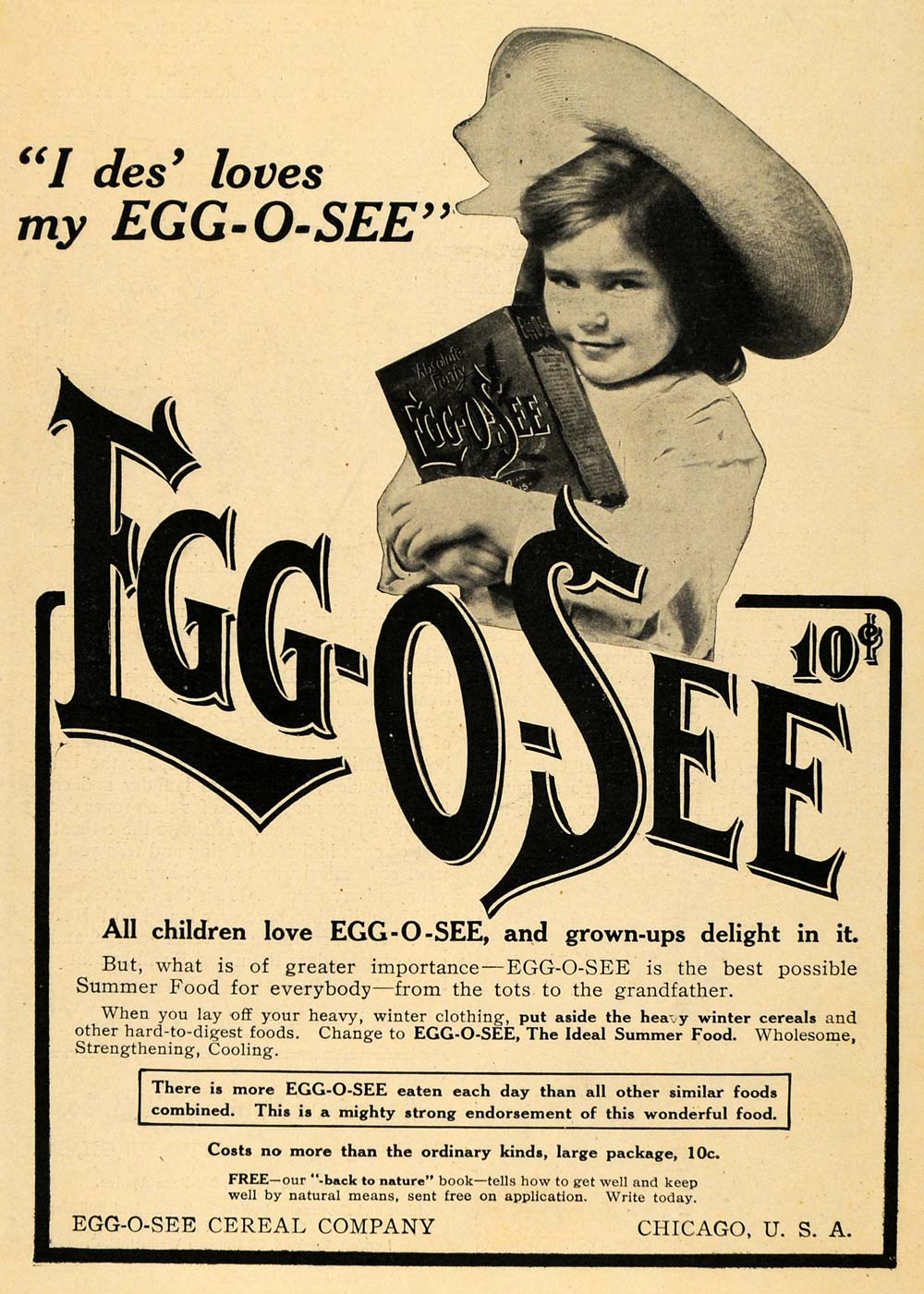 1907 Ad Egg-O-See Cereal Company Chicago Breakfast Food - ORIGINAL TOM1