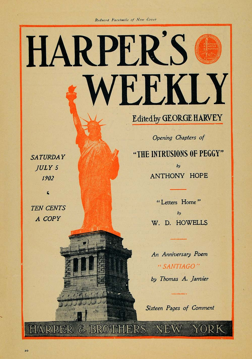1902 Ad Harpers Weekly George Harvey Thomas Janvier - ORIGINAL ADVERTISING TOM1