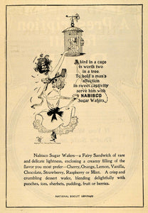 1903 Ad Poem Fairy In Birdcage Nabisco Sugar Wafers - ORIGINAL ADVERTISING TOM1