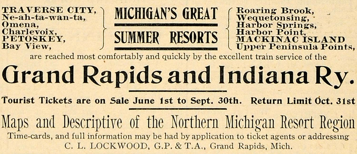 1900 Ad Grand Rapids Indiana Railway Resort Harbor Bay - ORIGINAL TOM1
