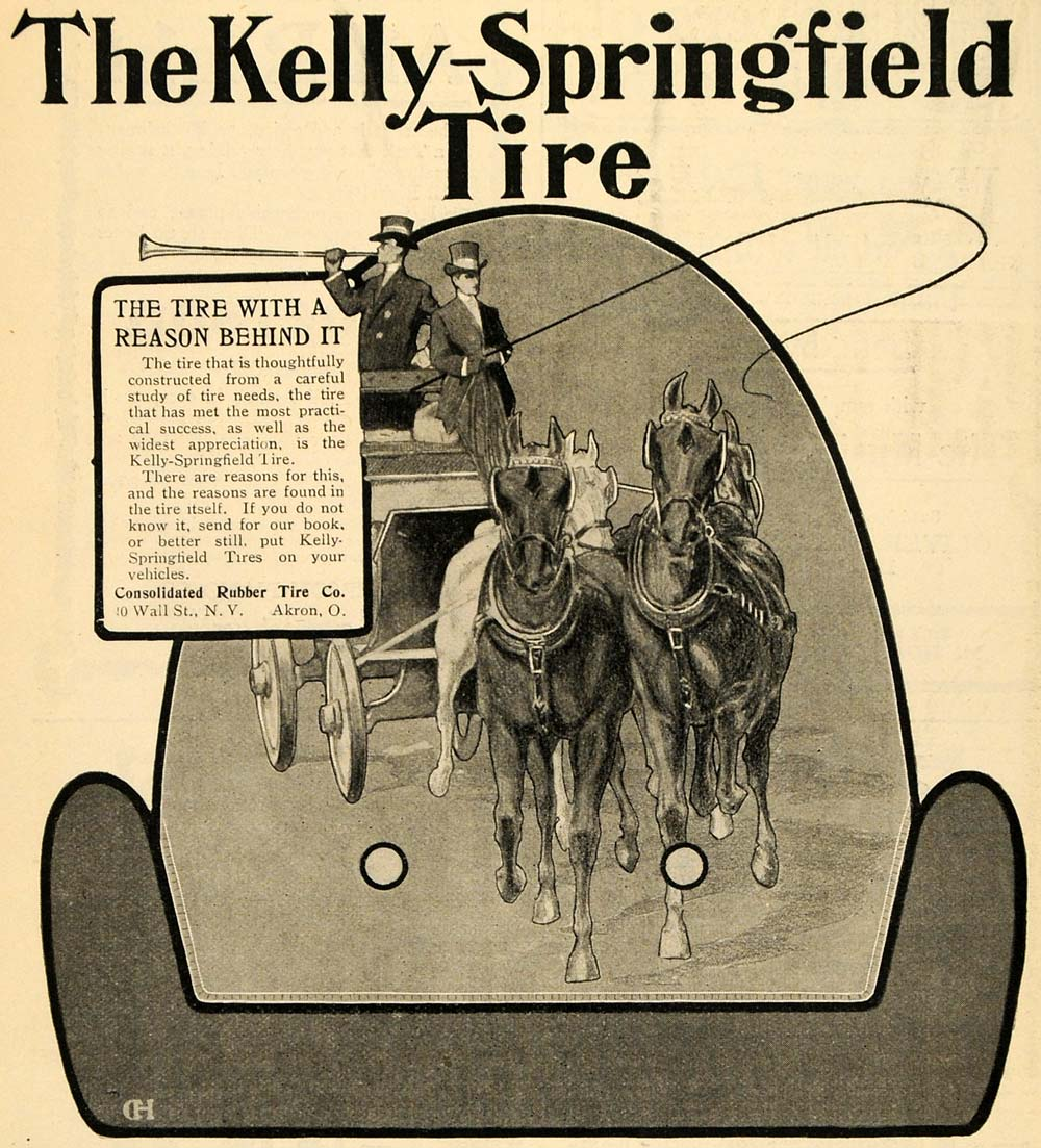 1903 Ad Kelly Springfield Tires Rubber Horses Carriage - ORIGINAL TOM1