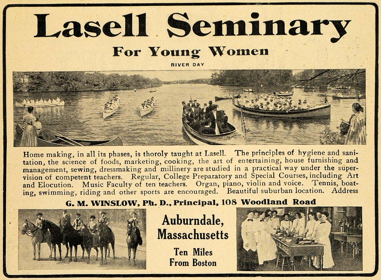 1912 Ad Lasell Seminary Preparatory Women River Horses - ORIGINAL TOM1