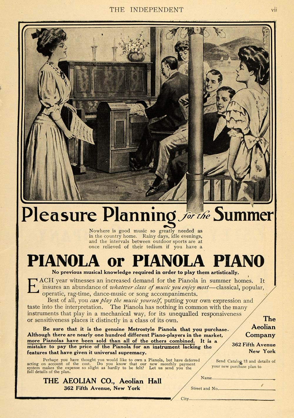 1907 Ad Aeolian Co. Pianoloa Piano Musical Instruments - ORIGINAL TOM2