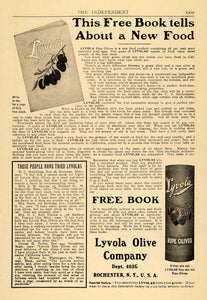 1906 Ad Lyvola Olive Co. Ripe Olives Food Products - ORIGINAL ADVERTISING TOM2