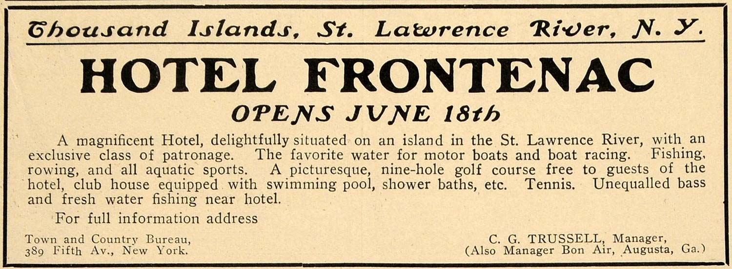 1910 Ad Hotel Frontenac Thousand Island St. Lawrence NY - ORIGINAL TOM2
