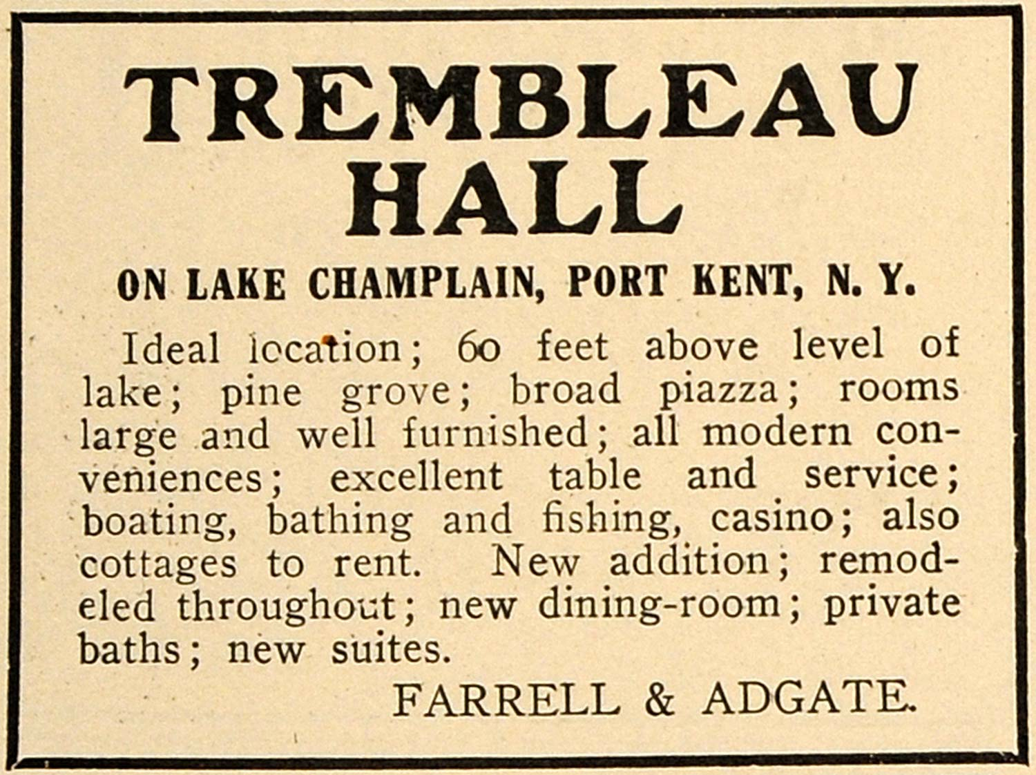 1910 Ad Trembleau Hall Hotel Lake Champlain Port Kent - ORIGINAL TOM2