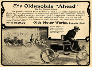 1903 Ad Horse Race Oldsmobile Runabout Automobile Cars - ORIGINAL TOM3
