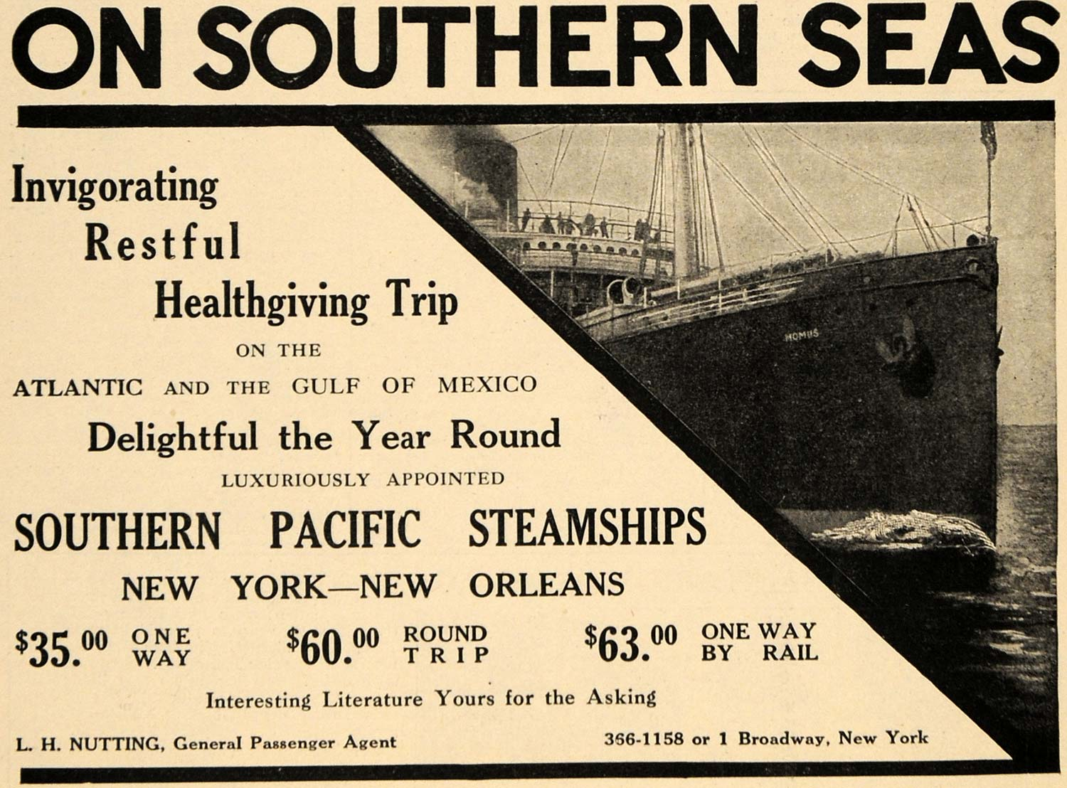 1910 Ad Southern Pacific Steamships L H Nutting Boat - ORIGINAL ADVERTISING TOM3