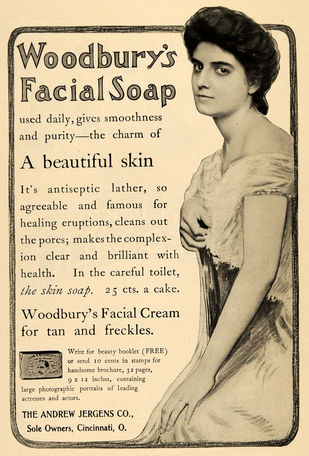 1904 Ad Andrew Jergens Company Woodbury's Facial Soap - ORIGINAL TOM3