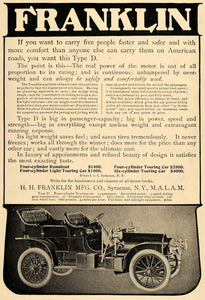 1906 Ad Franklin Type D Motor Car Runabout Six Cylinder - ORIGINAL TOM3