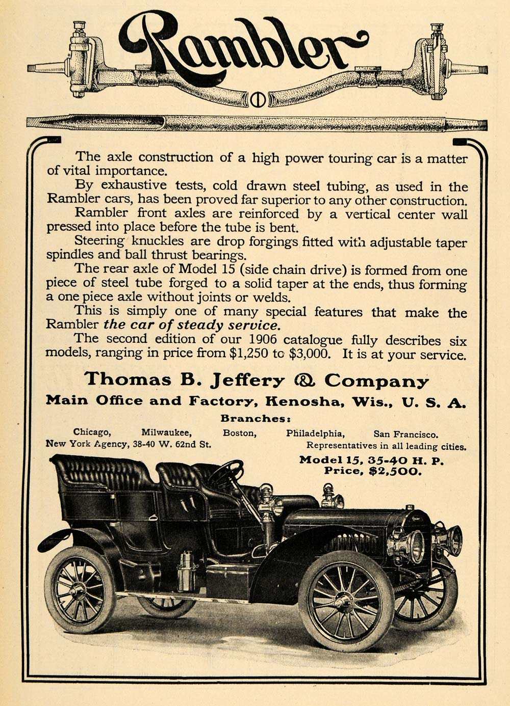 1906 Ad Rambler Axle Construction Model 15 Motor Cars - ORIGINAL TOM3