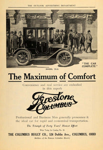 1910 Ad Firestone Columbus Cars Buggy Men Model 72-A - ORIGINAL ADVERTISING TOM3