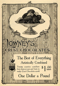 1912 Ad Lowneys Logo Chocolates Tray Sweets Candy - ORIGINAL ADVERTISING TOM3