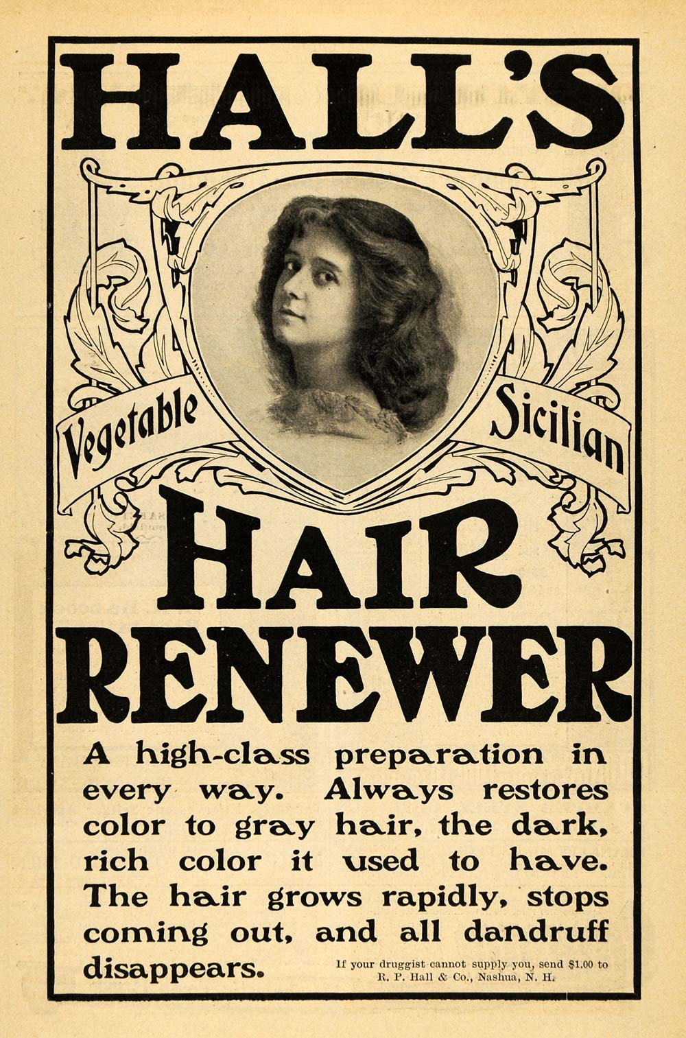 1900 Ad R P Hall   Co. Hair Renewer Vegetable Sicilian - ORIGINAL TOM3 68d7280df88a