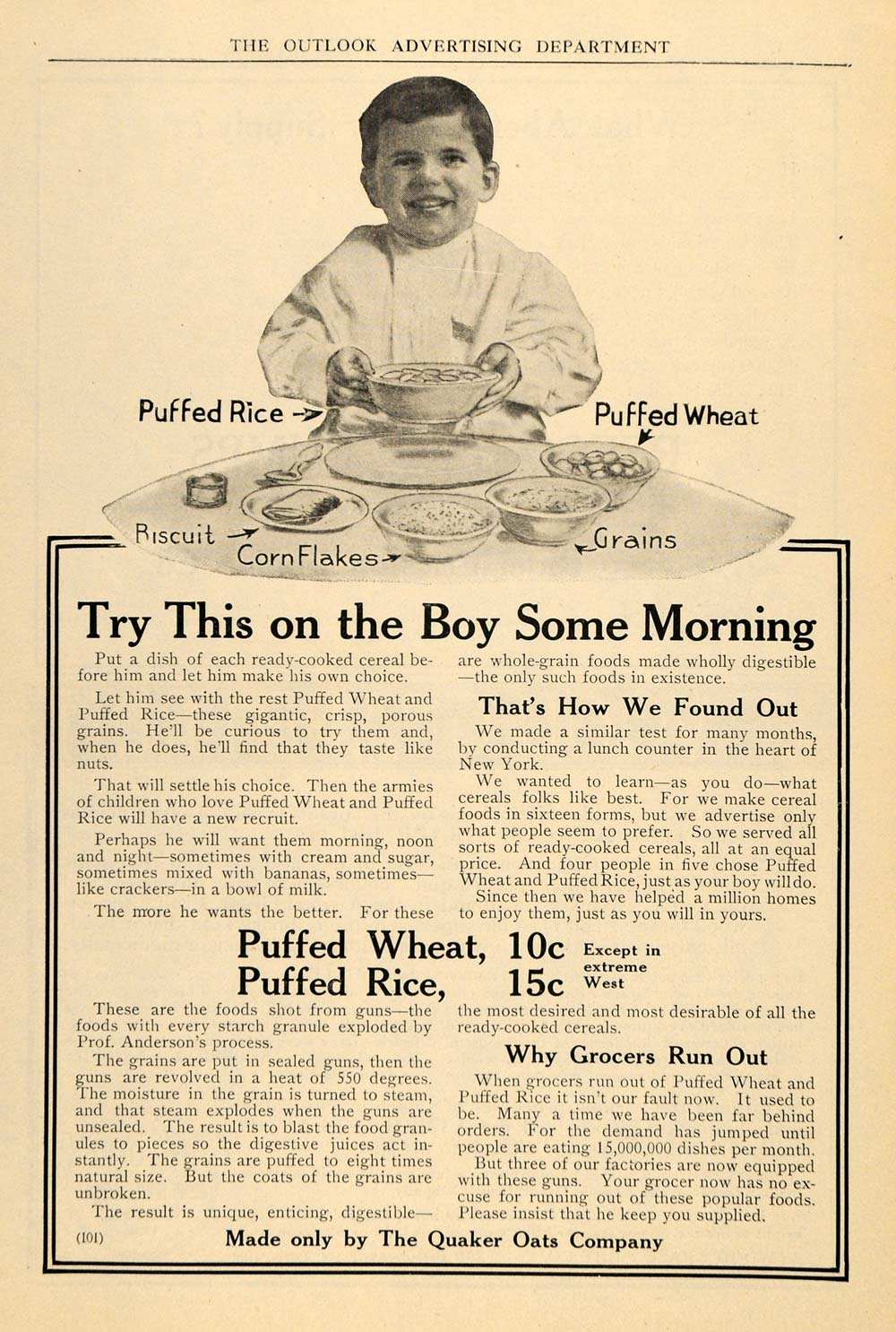1911 Ad Quaker Oats Puffed Rice Cereal Wheat Breakfast - ORIGINAL TOM3