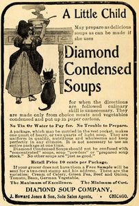 1900 Ad Diamond Soup Co. Condensed Soup Bowl Child Cat - ORIGINAL TOM3