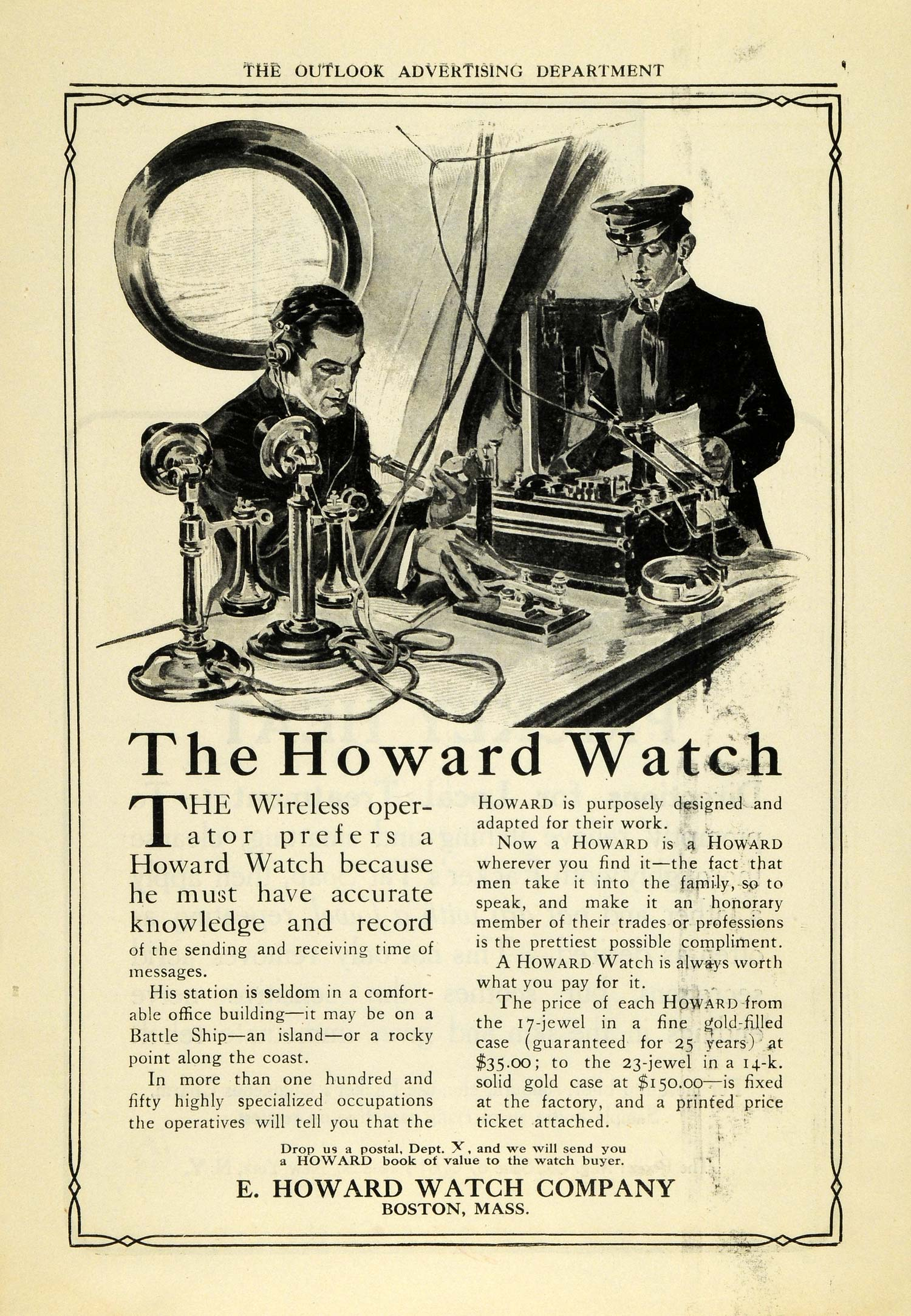 1909 Ad E. Howard Watch Antique Telephone Wireless Operator Telegraphy TOM3