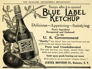 1909 Ad Blue Label Ketchup Bottle Curtice Tomato Condiments Seasoning TOM3