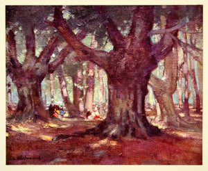 1938 Print Burnham Beeches London England Woodland Crowd Forest Leonard TOP1