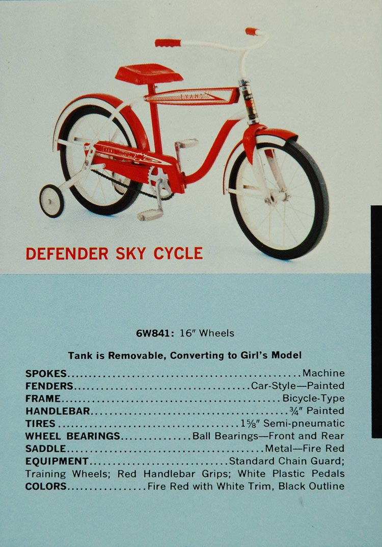 1961 Ad Defender Sky Cycle Bicycle Evans 6W841 Red Bike - ORIGINAL TOYS5