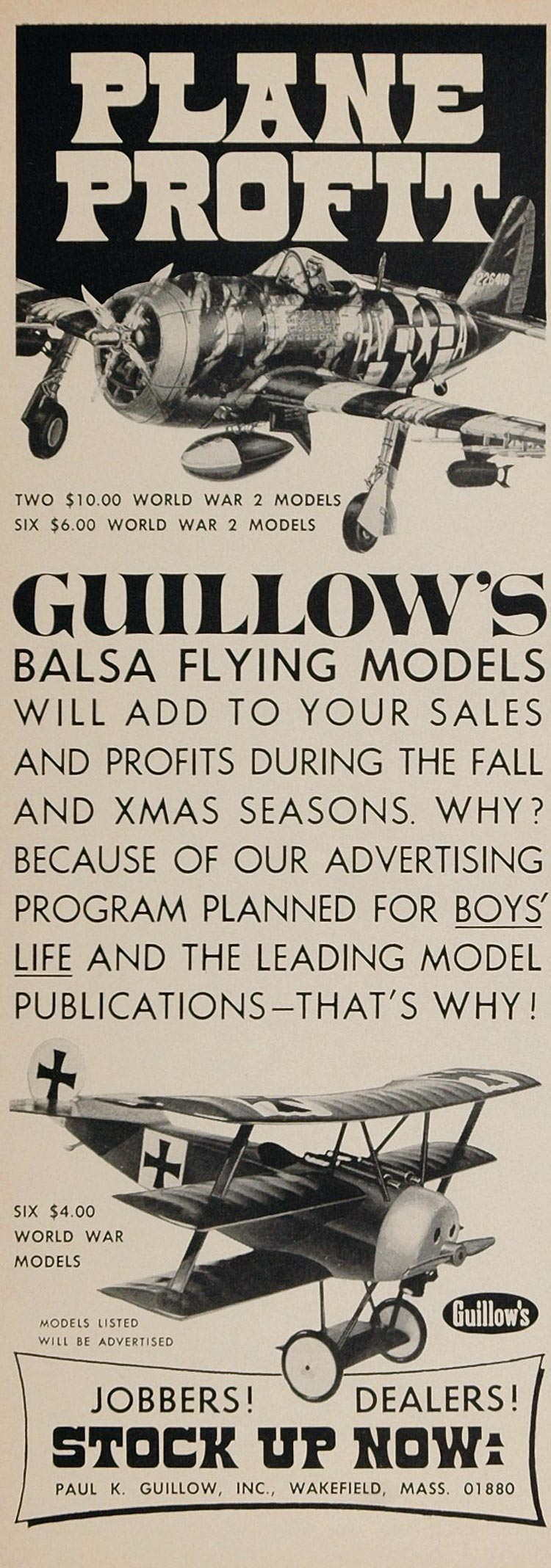 1970 Ad Guillow's Balsa Wood Model Toy Airplane WWII - ORIGINAL TOYS6