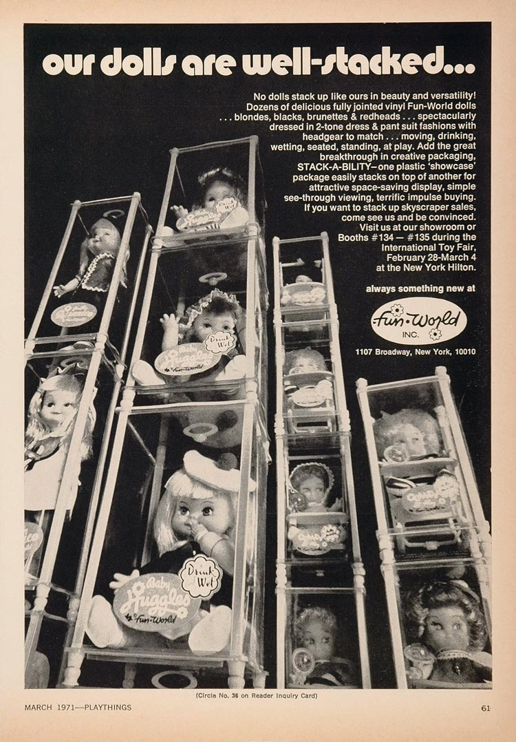 1971 Ad Fun World Dolls Baby Huggles Doll Packaging - ORIGINAL TOYS71