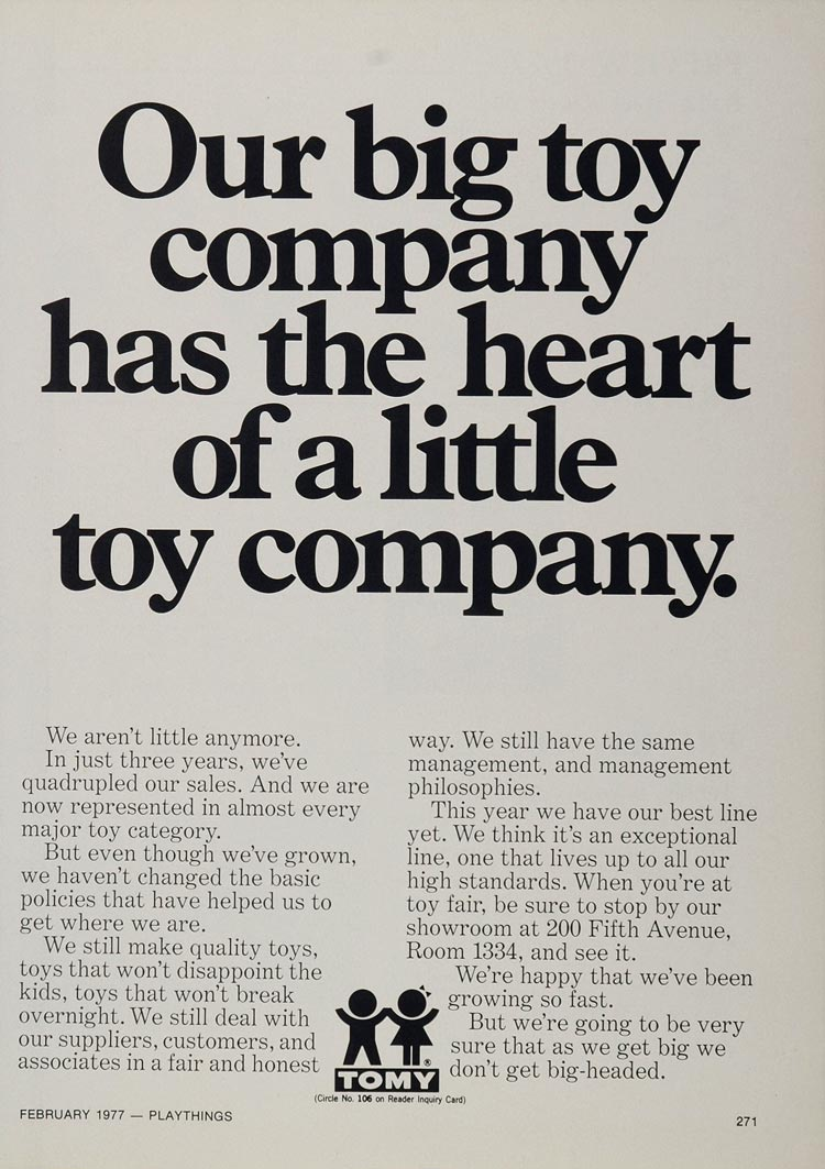 1977 Ad Tomy Toy Company Musical Train Records Girl - ORIGINAL TOYS77